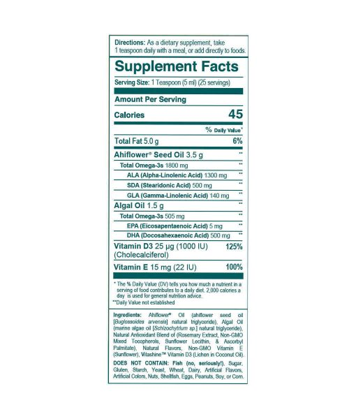 Wileys Finest Catch Free Omega 3 Liquid Supplement Facts